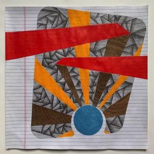 """2020   ink, graphite, gouache, flocking, paper   12"""" x 12"""""""
